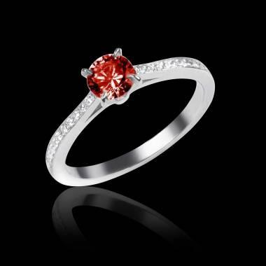 Bague de fiançailles rubis pavage diamant or blanc Elodie