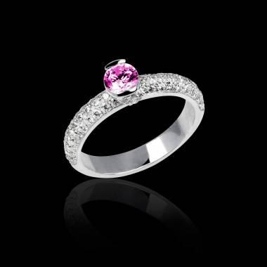 Bague de fiançailles saphir rose pavage diamant or blanc Orphée