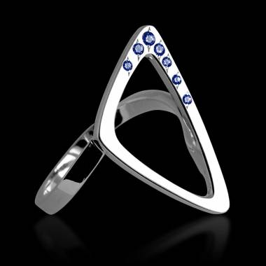 Bague de fiançailles saphir bleu 0,8 carat or blanc Triangle