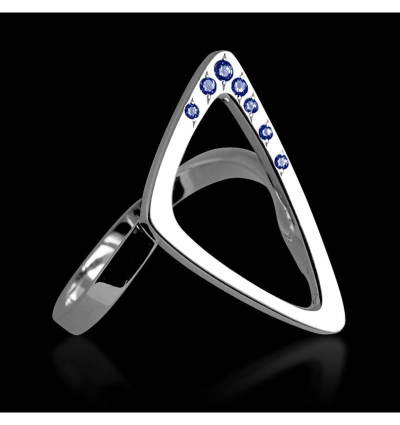 Bague saphir bleu Triangle