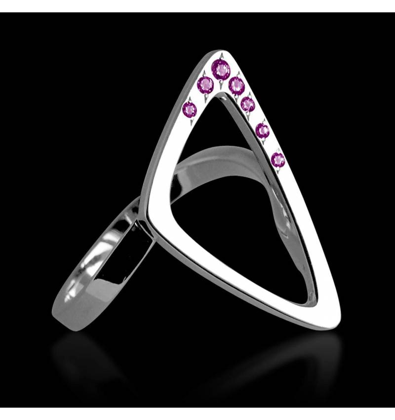 Bague or blanc pavage saphir rose Triangle
