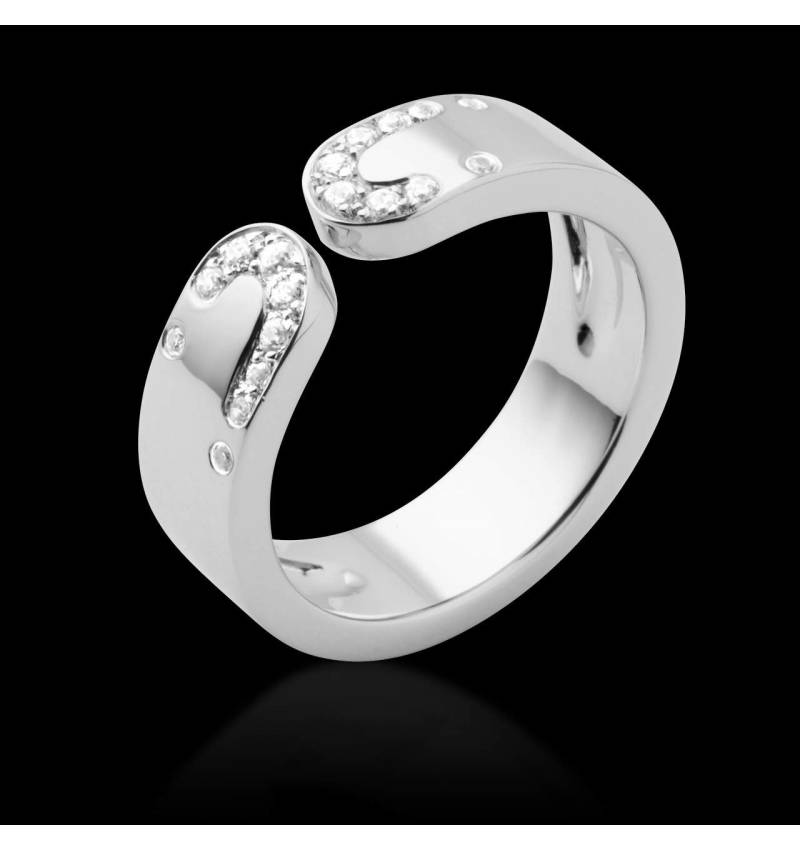 Alliance de mariage pavage diamant 0,7 carat or blanc Séductrice