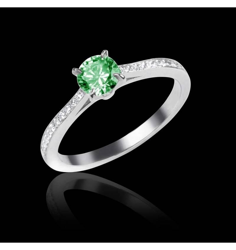 Bague de fiançailles émeraude pavage diamant or blanc Elodie