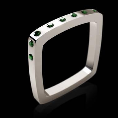 Bague de fiançailles émeraude 0,7 carat or blanc Square