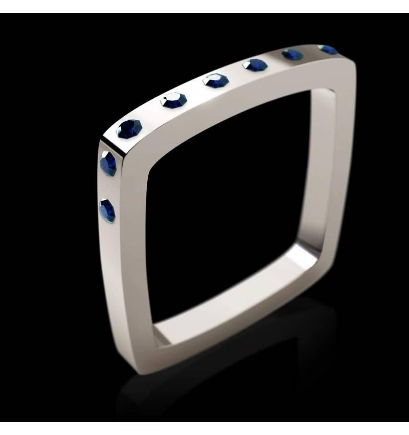 Bague de fiançailles saphir bleu 0,8 carat or blanc Square