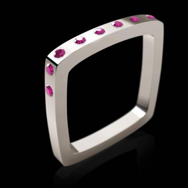 Bague or blanc pavage saphir rose Square