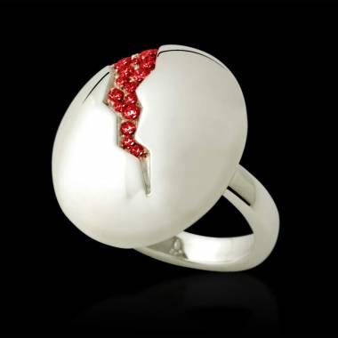 Bague de fiançailles rubis 0,6 carat or blanc Quake