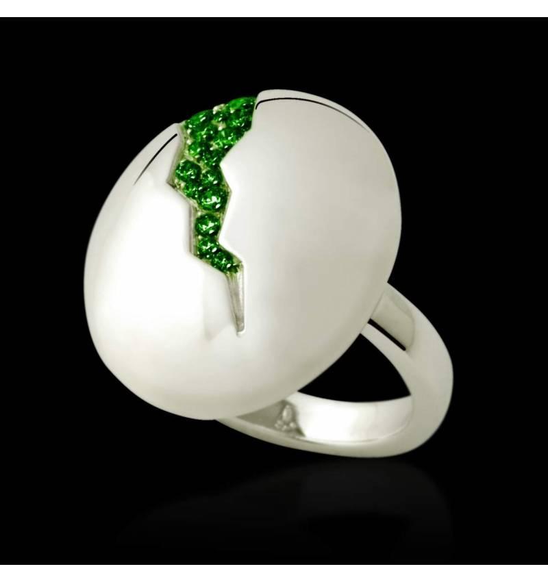 Bague de fiançailles émeraude 0,7 carat or blanc Quake