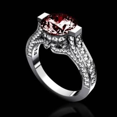 Bague de fiançailles rubis pavage diamant or blanc Mount Olympus