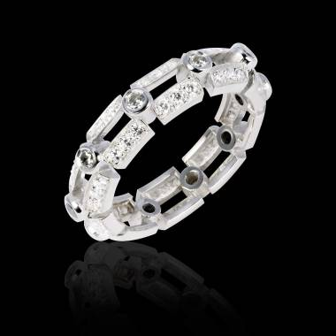 Alliance de mariage diamant 0,7 carat pavage diamant or blanc Terre