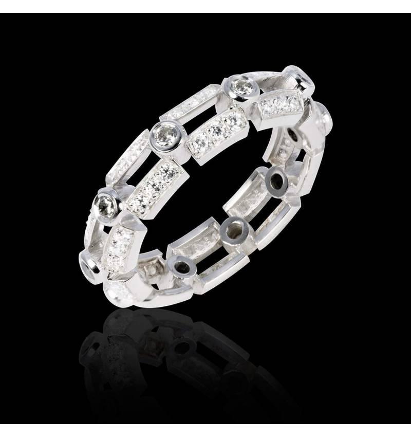 Alliance de mariage diamant 0,7 carat pavage diamant platine Terre