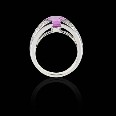 Solitaire saphir rose pavage diamant or blanc Isabelle