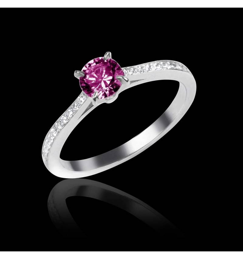 Bague de fiançailles saphir rose pavage diamant or blanc Elodie