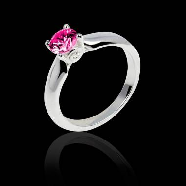 Bague de fiançailles saphir rose or blanc Motherhood