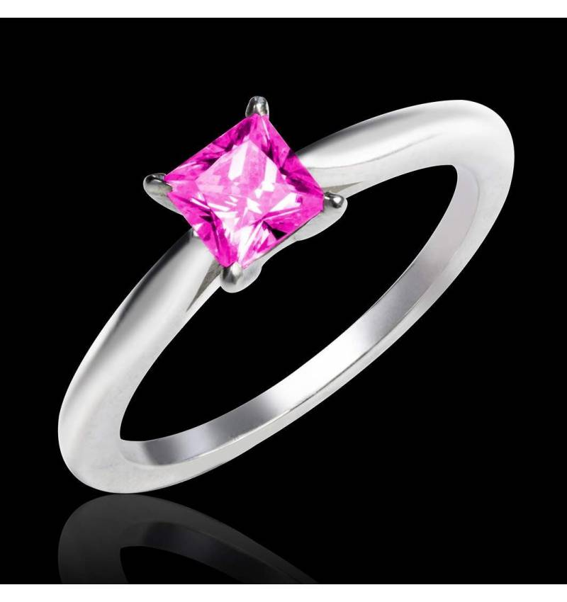 Bague de fiançailles saphir rose or blanc My Love