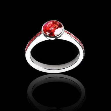 Bague de fiançailles rubis rond pavage rubis or blanc Moon