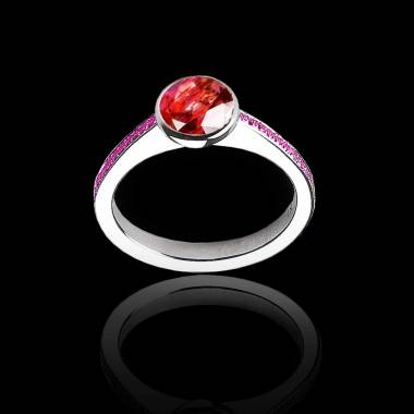Bague de fiançailles rubis rond pavage saphir rose or blanc Moon