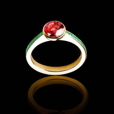 Bague de fiançailles rubis rond pavage émeraude or jaune Moon
