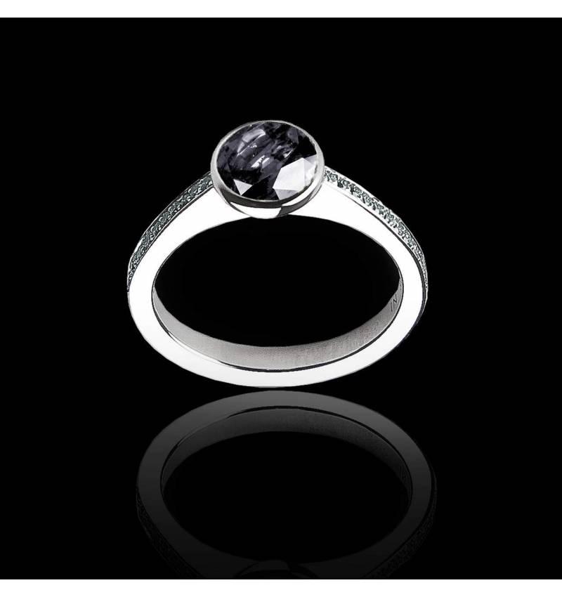Bague de fiançailles diamant noir pavage diamant or blanc Moon