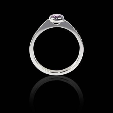 Bague Solitaire diamant noir rond pavage diamant or blanc Moon