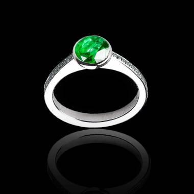 Bague de fiançailles émeraude ronde pavage diamant or blanc Moon