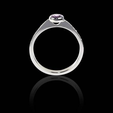 Bague Solitaire saphir rose rond pavage diamant or blanc Moon
