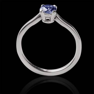 Solitaire saphir bleu rond or blanc Vanessa Solo
