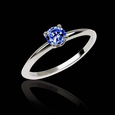 Bague de fiançailles saphir bleu or blanc Valentina