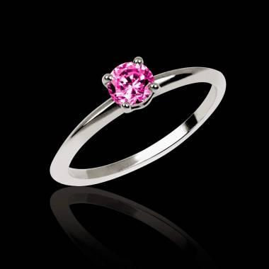 Bague de fiançailles saphir rose or blanc Valentina