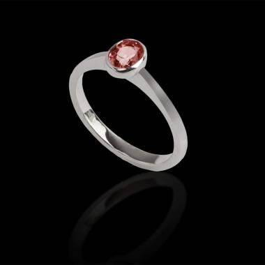 Bague de fiançailles rubis or blanc Ovale Moon Solo