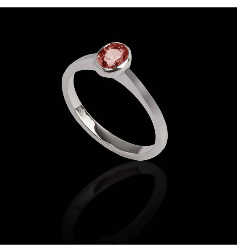 Solitaire rubis ovale or blanc Moon solo