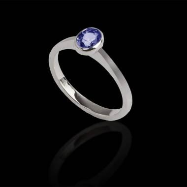 Bague de fiançailles saphir bleu or blanc Ovale Moon Solo
