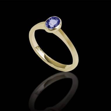 Bague de fiançailles saphir bleu or jaune Ovale Moon Solo