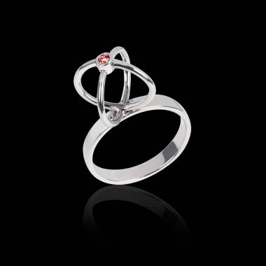 Bague rubis or blanc Cage
