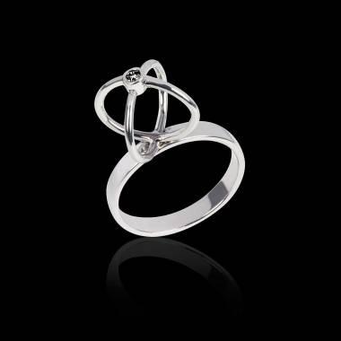 Bague de fiançailles diamant noir or blanc Cage
