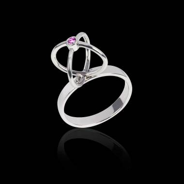 Bague saphir rose or blanc Cage