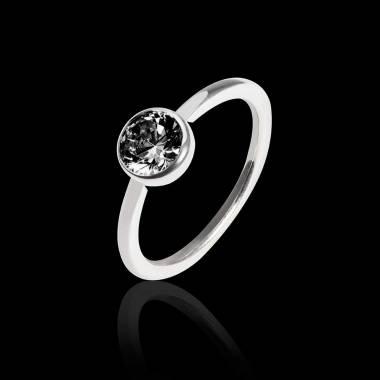 Bague de fiançailles diamant noir or blanc Cristina