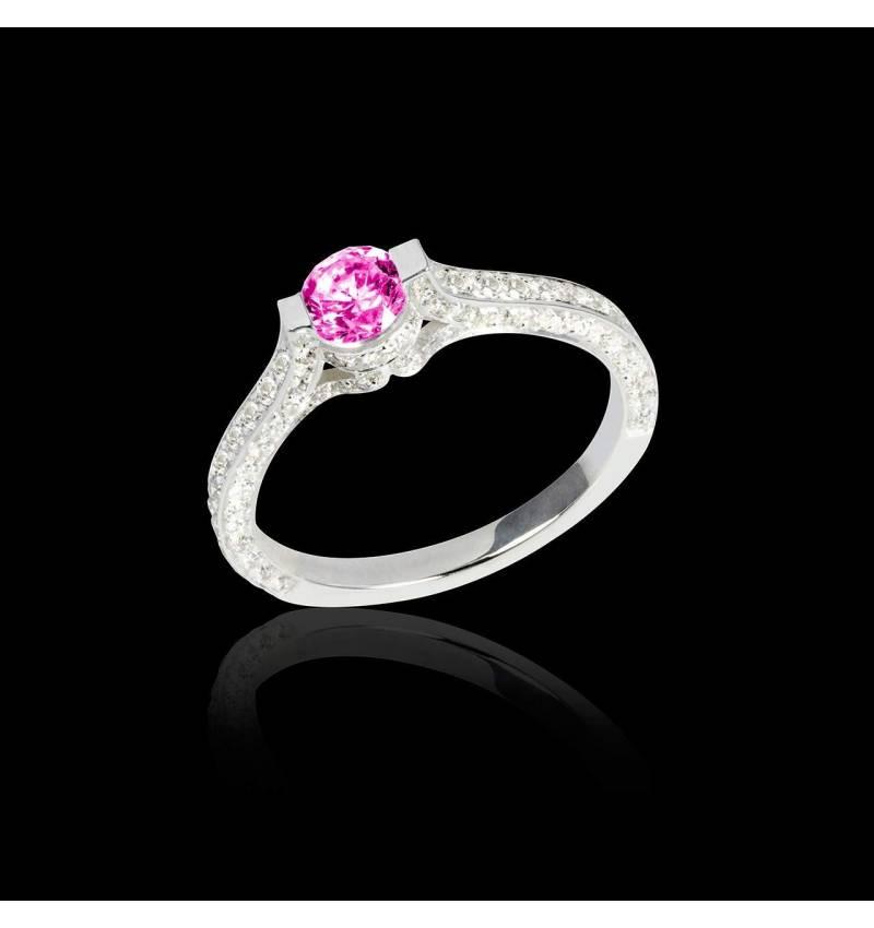 Bague de fiançailles saphir rose pavage diamant or blanc Mont Olympus