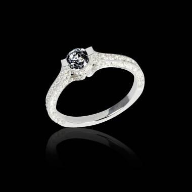 Bague de fiançailles diamant noir pavage diamant or blanc Mont Olympus