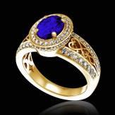 Bague de fiançailles saphir bleu pavage diamant or jaune Tsarine