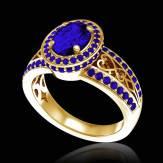 Bague de fiançailles saphir bleu pavage saphir bleu or jaune Tsarine
