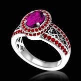 Bague de fiançailles saphir rose pavage diamant or blanc Tsarine