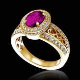 Bague de fiançailles saphir rose pavage diamant or jaune Tsarine