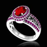 Bague de fiançailles rubis pavage saphir rose or blanc Tsarine