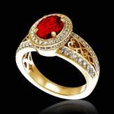 Bague de fiançailles rubis pavage diamant or jaune Tsarine