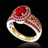 Bague de fiançailles rubis pavage saphir rose or jaune Tsarine