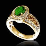 Bague de fiançailles émeraude pavage diamant or jaune Tsarine