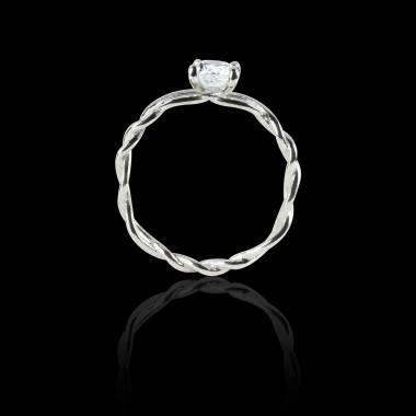 Solitaire diamant or blanc Entrelassée