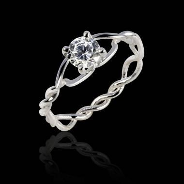 Bague de fiançailles diamant or blanc Entrelassée