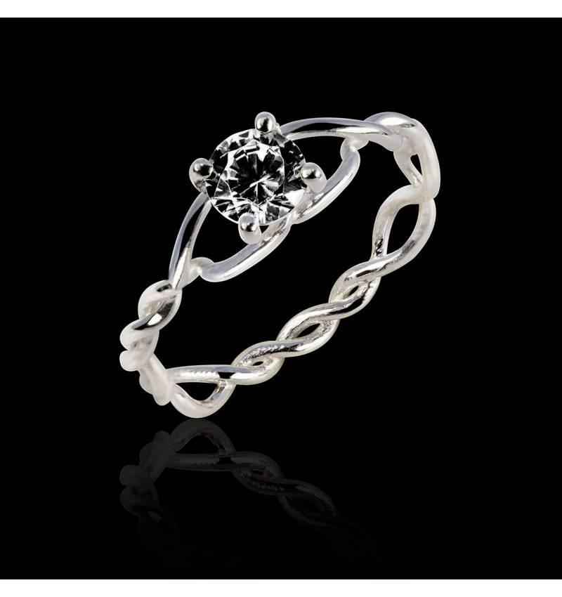 Bague de fiançailles diamant noir or blanc Entrelassée